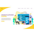 cross-platform coding landing page website vector image