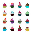 cupcakes and muffins set colorful desserts vector image