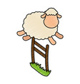 cute sheep jumping the fence vector image vector image