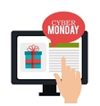 cyber monday hand touch screen shop vector image vector image