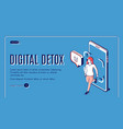 digital detox woman step out mobile phone screen vector image