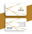 elegant while and gold business card template vector image vector image