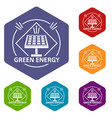energy icons hexahedron vector image vector image
