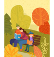 family seated on a bench relaxing in a fall park vector image