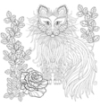 fluffy cat in roses entangle style freehand vector image vector image