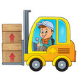 fork lift truck theme image 1 vector image vector image