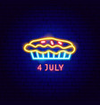 fourth july neon label vector image vector image