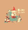 funny cartoon santa claus with little helper vector image