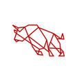 geometric bull tech charging line outline logo vector image vector image