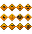 glossy diamond hazard signs vector image