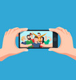 group selfie on smartphone photo portrait of vector image vector image