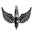 hand drawn spark plug with wings on white vector image