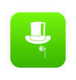 hat with monocle icon digital green vector image vector image