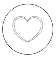 heart the black color icon in circle or round vector image vector image