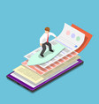 Isometric businessman surfing web and