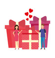 lovers couple with hearts floating and gifts vector image