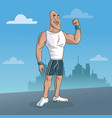 man sport fitness urban background vector image