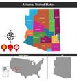 map of arizona us vector image