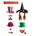 masquerade set on white background vector image vector image