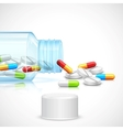 Medicine Capsule in Bottle vector image vector image