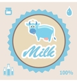Milk Label with cow vector image vector image