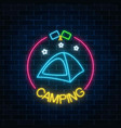 neon camping sign with tent stars and flagsin vector image vector image