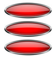 oval red buttons with bold chrome frame 3d shiny vector image vector image