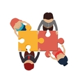 people with puzzle pieces game icon vector image