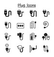plug usb cable socket port icon set graphic design vector image