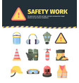 protection safety work tools set manufacture vector image vector image