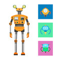 robot collection and icons vector image