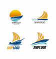 sailing ship logo vector image vector image