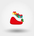 santa claus red bag with gifts icon flat vector image vector image