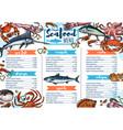 seafood restaurant menu fish gourmet food sketch vector image vector image
