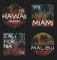 set of us resorts t-shirt designs vector image vector image