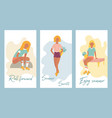 set summer posters with pretty roller girls vector image vector image