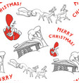 sketch seamless background of santa claus with vector image vector image