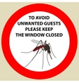 Sticker with Warning sign insect icon mosquito vector image vector image