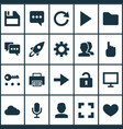 user icons set with forward launch audio and vector image