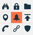 user icons set with location download folder and vector image