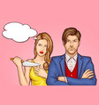 wife with knife behind husband cartoon vector image vector image