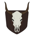 Wild west cow skull on wood shield vector image