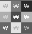 won sign grayscale version of popart vector image vector image