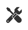 wrench crosses screwdriver black icon vector image vector image