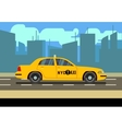 Yellow car taxi cab in cityscape vector image vector image