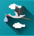 flying stork with a bundle icon vector image