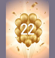 22nd year anniversary background vector image vector image
