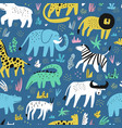african animals flat hand drawn seamless pattern vector image vector image