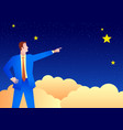 businessman pointing stars vector image vector image
