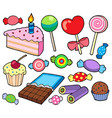 candy and cakes collection vector image